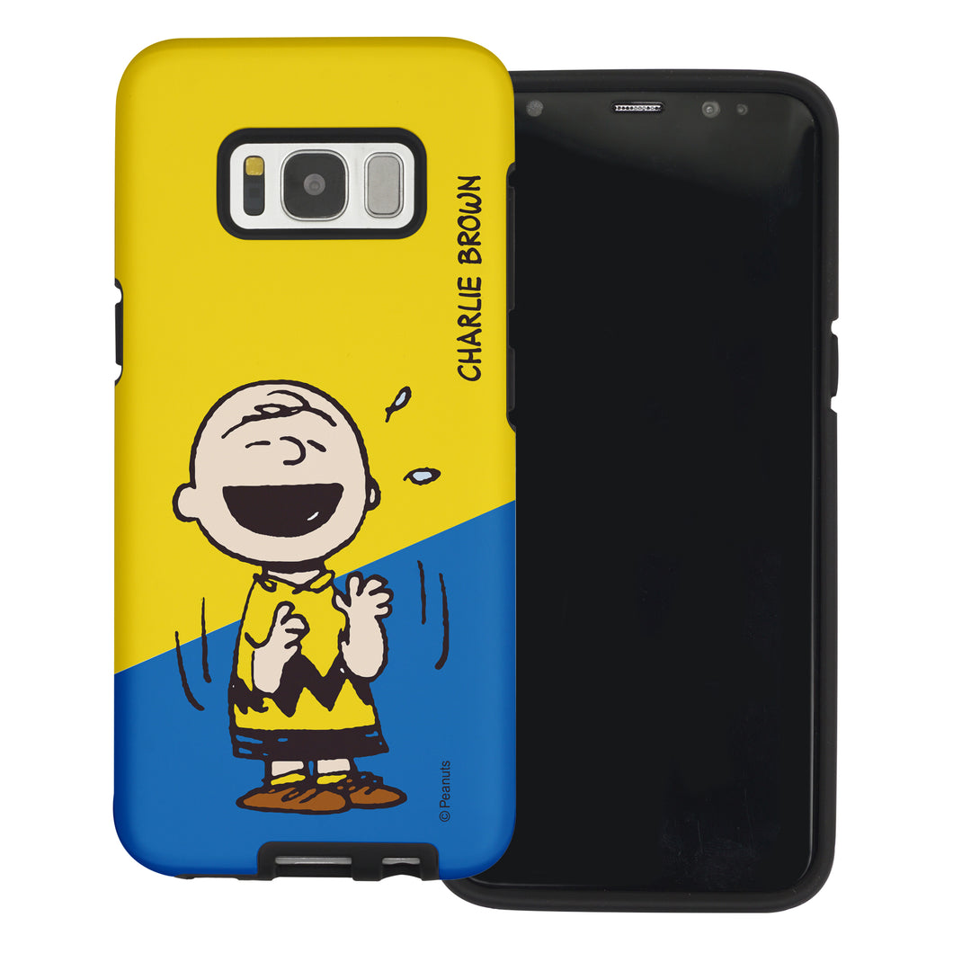 Galaxy S8 Case (5.8inch) PEANUTS Layered Hybrid [TPU + PC] Bumper Cover - Diagonal Charlie Brown