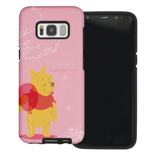 Galaxy S8 Case (5.8inch) Disney Pooh Layered Hybrid [TPU + PC] Bumper Cover - Balloon Pooh Ground