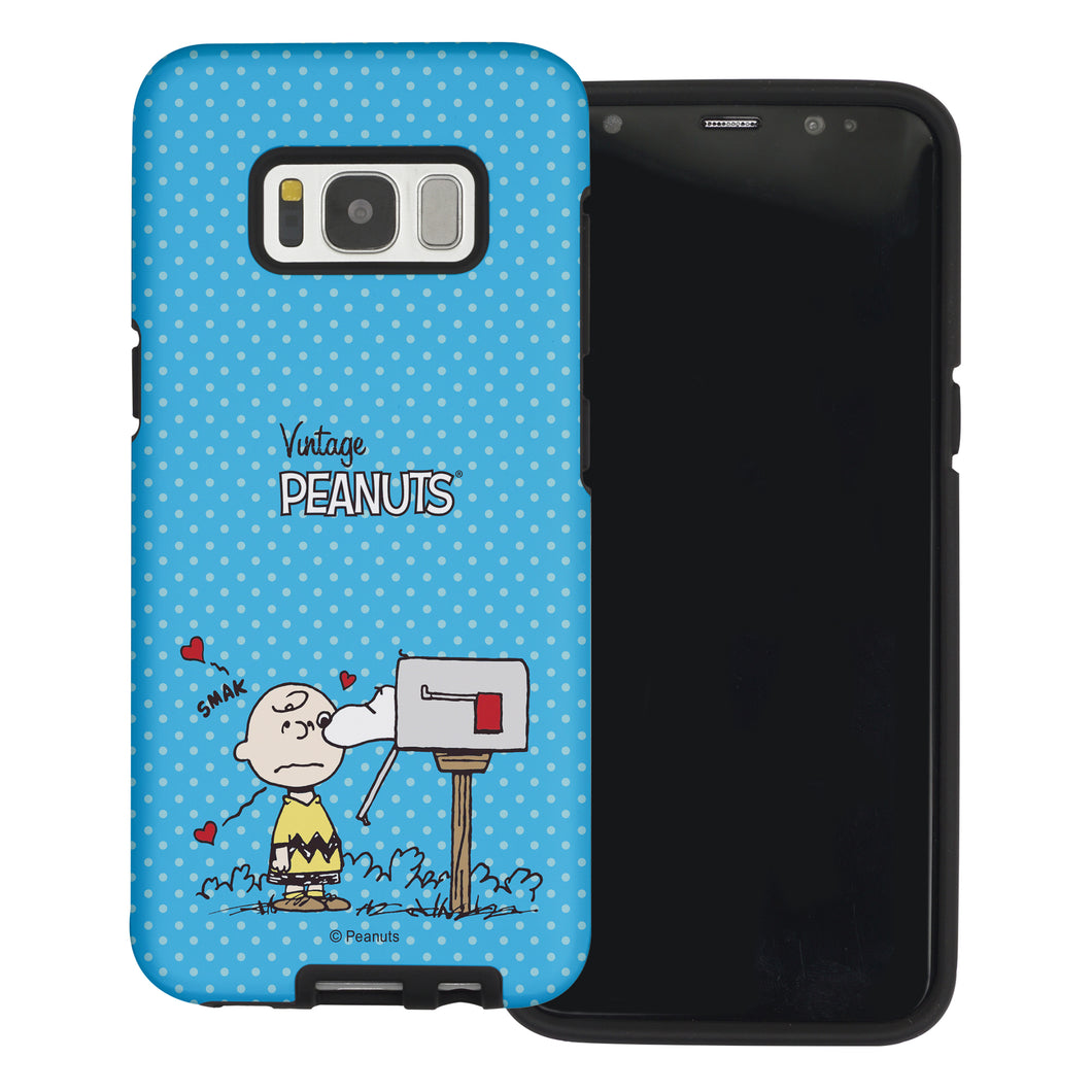 Galaxy S8 Plus Case PEANUTS Layered Hybrid [TPU + PC] Bumper Cover - Smack Charlie Brown Mailbox