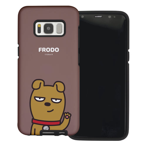 Galaxy S6 Edge Case Kakao Friends Layered Hybrid [TPU + PC] Bumper Cover - Greeting Frodo