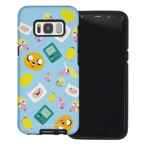 Galaxy Note4 Case Adventure Time Layered Hybrid [TPU + PC] Bumper Cover - Cuty Pattern Blue