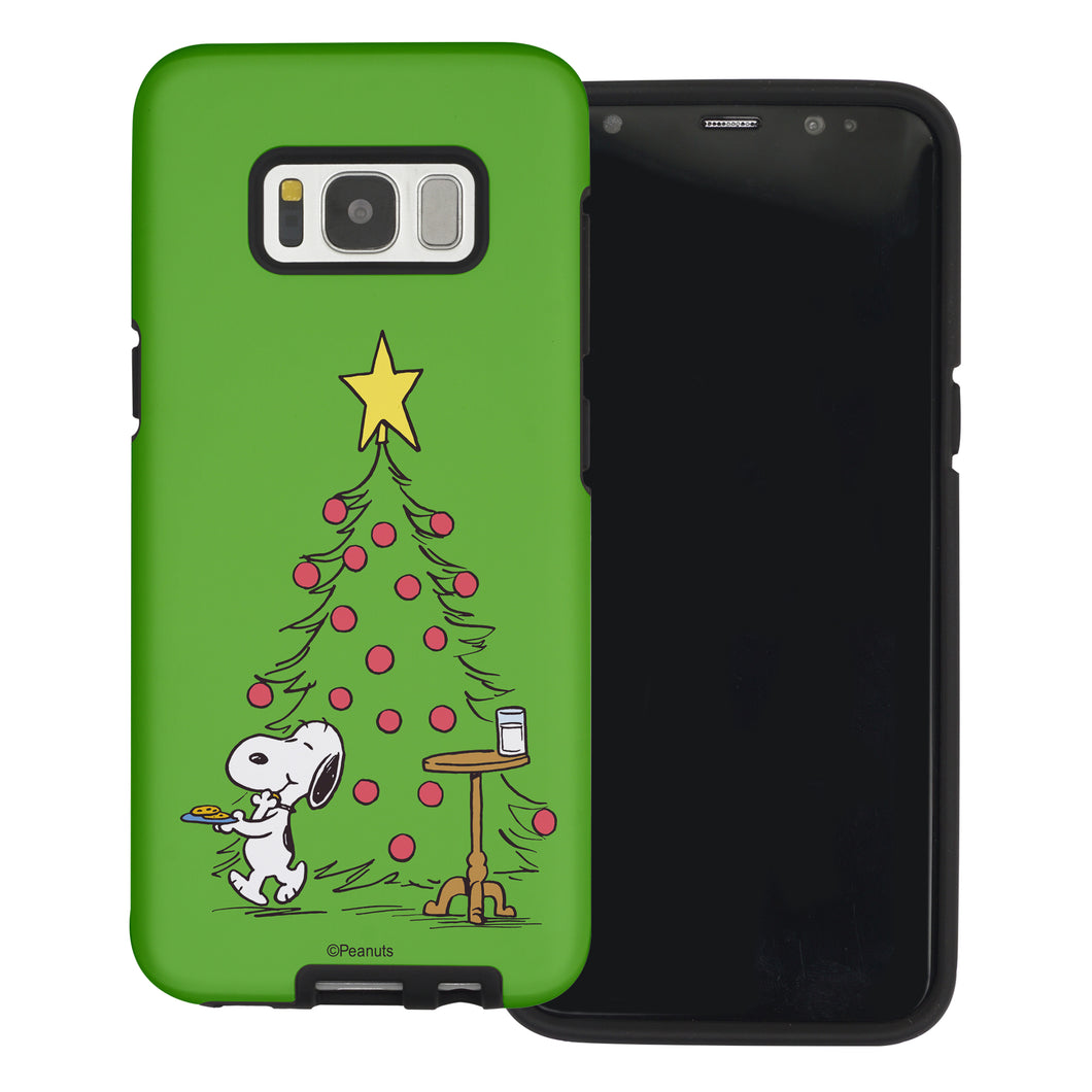 Galaxy S8 Plus Case PEANUTS Layered Hybrid [TPU + PC] Bumper Cover - Christmas Cookie Snoopy