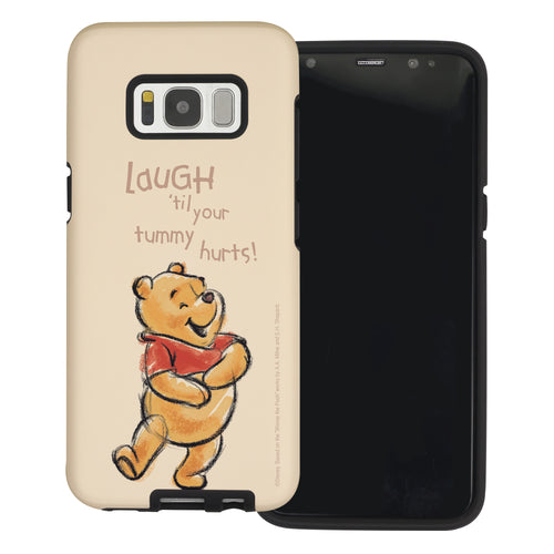 Galaxy S8 Case (5.8inch) Disney Pooh Layered Hybrid [TPU + PC] Bumper Cover - Words Pooh Laugh