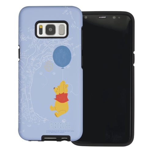 Galaxy S8 Case (5.8inch) Disney Pooh Layered Hybrid [TPU + PC] Bumper Cover - Balloon Pooh Sky