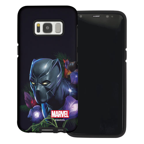 Galaxy S6 Edge Case Marvel Avengers Layered Hybrid [TPU + PC] Bumper Cover - Panther Face Black