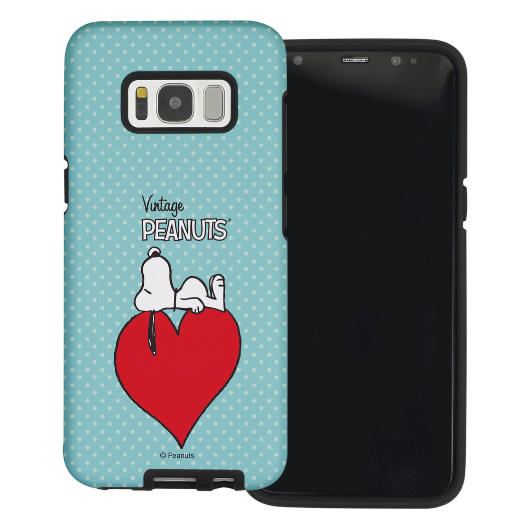 Galaxy S8 Case (5.8inch) PEANUTS Layered Hybrid [TPU + PC] Bumper Cover - Smack Snoopy Heart