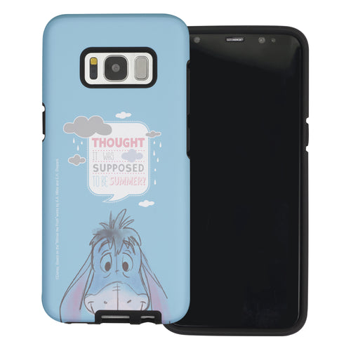 Galaxy S8 Case (5.8inch) Disney Pooh Layered Hybrid [TPU + PC] Bumper Cover - Words Eeyore Face