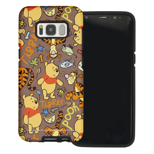 Galaxy S8 Case (5.8inch) Disney Pooh Layered Hybrid [TPU + PC] Bumper Cover - Pattern Pooh Brown
