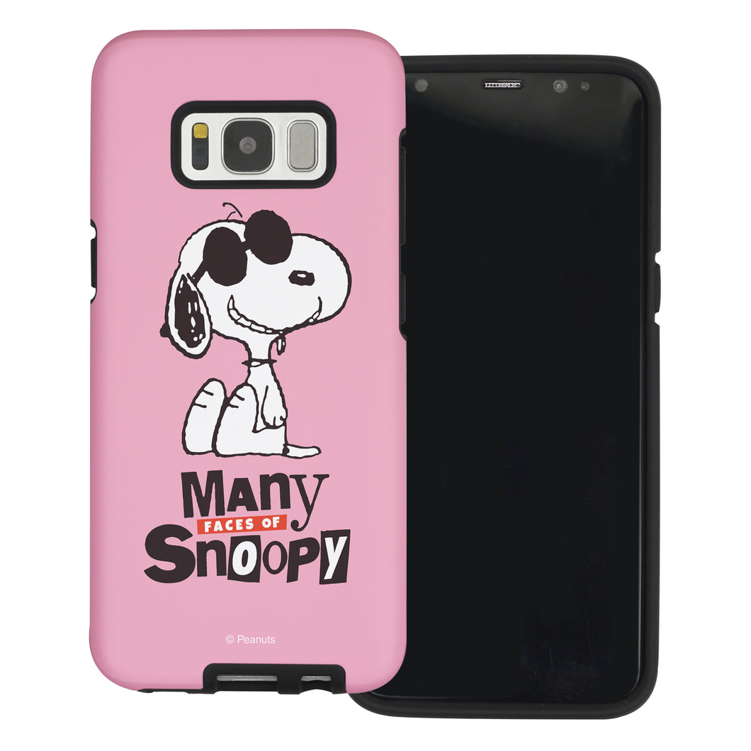 Galaxy S8 Plus Case PEANUTS Layered Hybrid [TPU + PC] Bumper Cover - Snoopy Face Baby pink