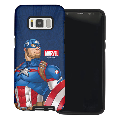 Galaxy S6 Case (5.1inch) Marvel Avengers Layered Hybrid [TPU + PC] Bumper Cover - Illustration Captain