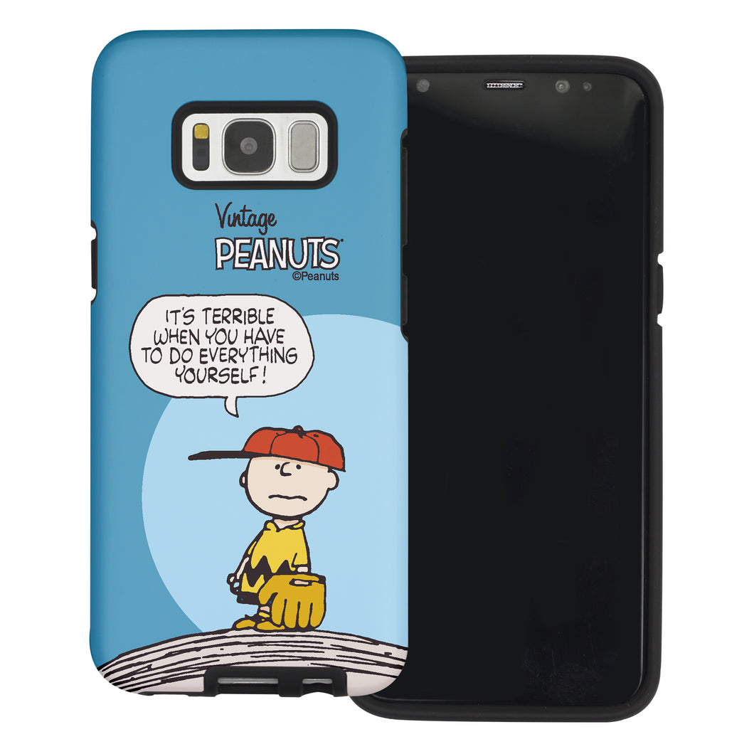 Galaxy S8 Case (5.8inch) PEANUTS Layered Hybrid [TPU + PC] Bumper Cover - Cartoon Charlie Brown