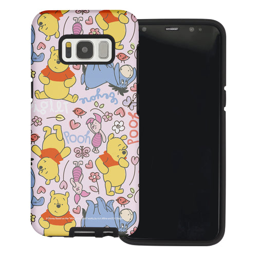 Galaxy S8 Case (5.8inch) Disney Pooh Layered Hybrid [TPU + PC] Bumper Cover - Pattern Pooh Pink