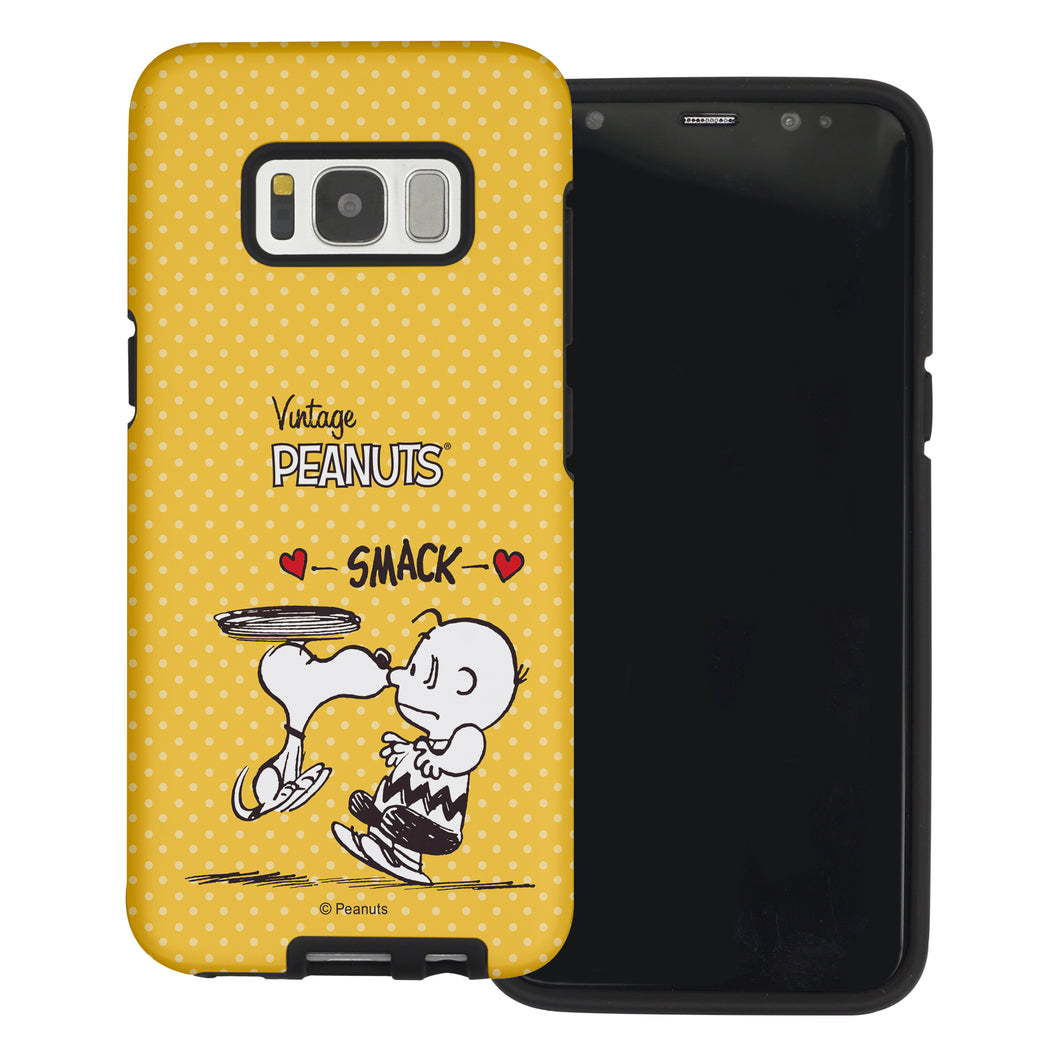 Galaxy S8 Case (5.8inch) PEANUTS Layered Hybrid [TPU + PC] Bumper Cover - Smack Snoopy Charlie Brown