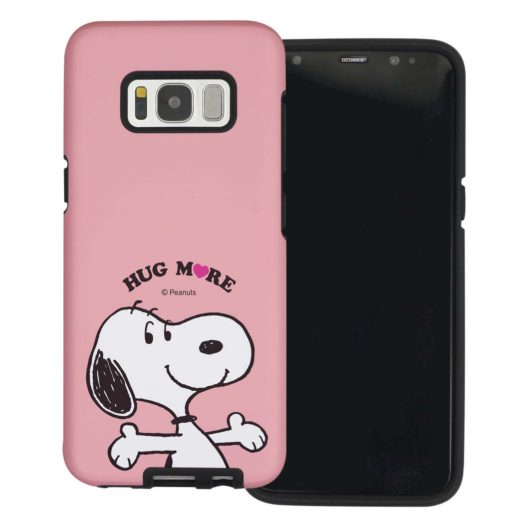 Galaxy S8 Plus Case PEANUTS Layered Hybrid [TPU + PC] Bumper Cover - Hug Snoopy