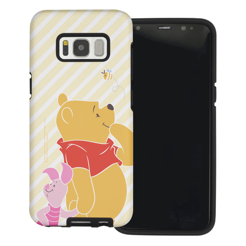 Galaxy S8 Case (5.8inch) Disney Pooh Layered Hybrid [TPU + PC] Bumper Cover - Stripe Pooh Bee