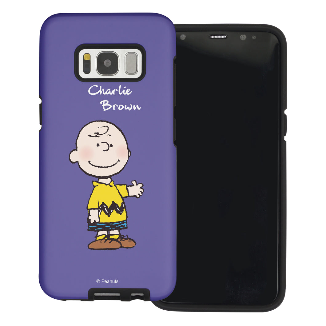 Galaxy S8 Case (5.8inch) PEANUTS Layered Hybrid [TPU + PC] Bumper Cover - Charlie Brown Stand Purple