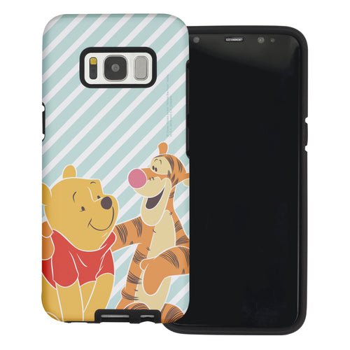 Galaxy S8 Case (5.8inch) Disney Pooh Layered Hybrid [TPU + PC] Bumper Cover - Stripe Pooh Tigger