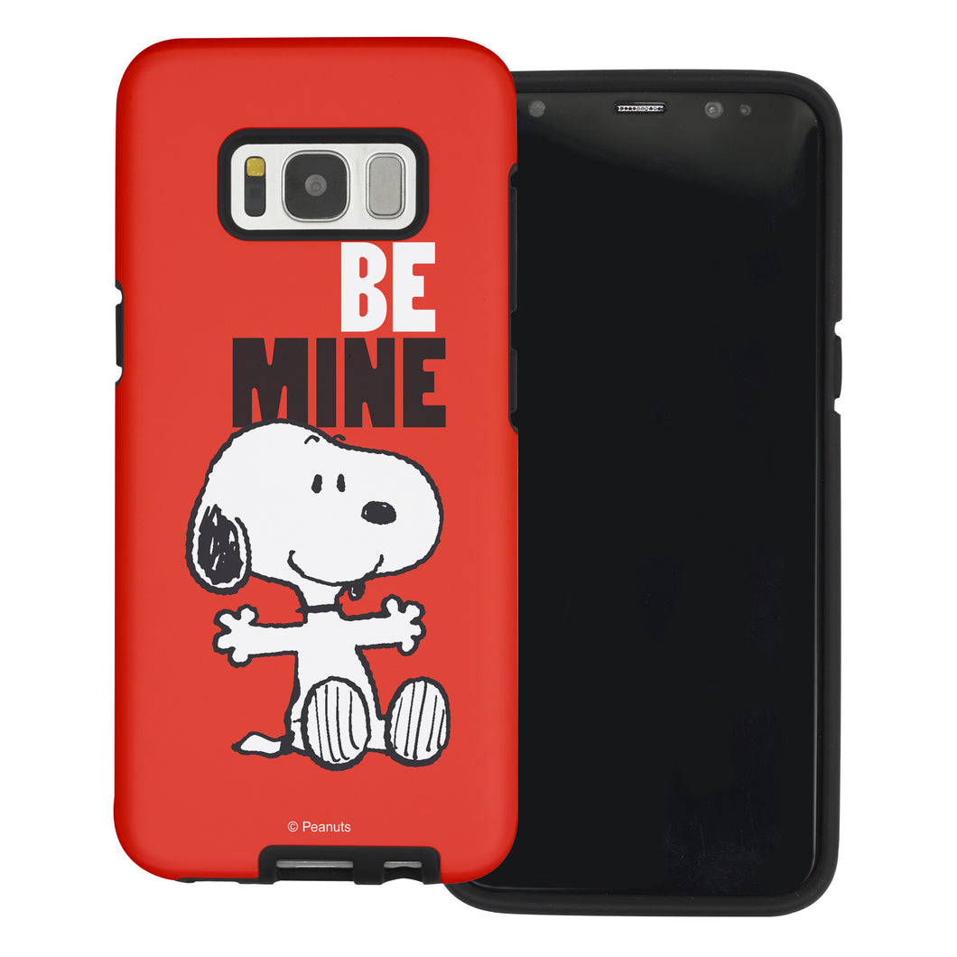 Galaxy S8 Case (5.8inch) PEANUTS Layered Hybrid [TPU + PC] Bumper Cover - Snoopy Be Mine Red