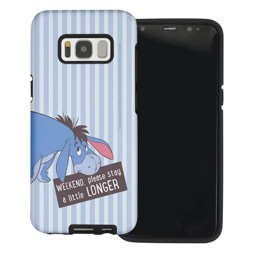 Galaxy S8 Case (5.8inch) Disney Pooh Layered Hybrid [TPU + PC] Bumper Cover - Words Eeyore Stripe