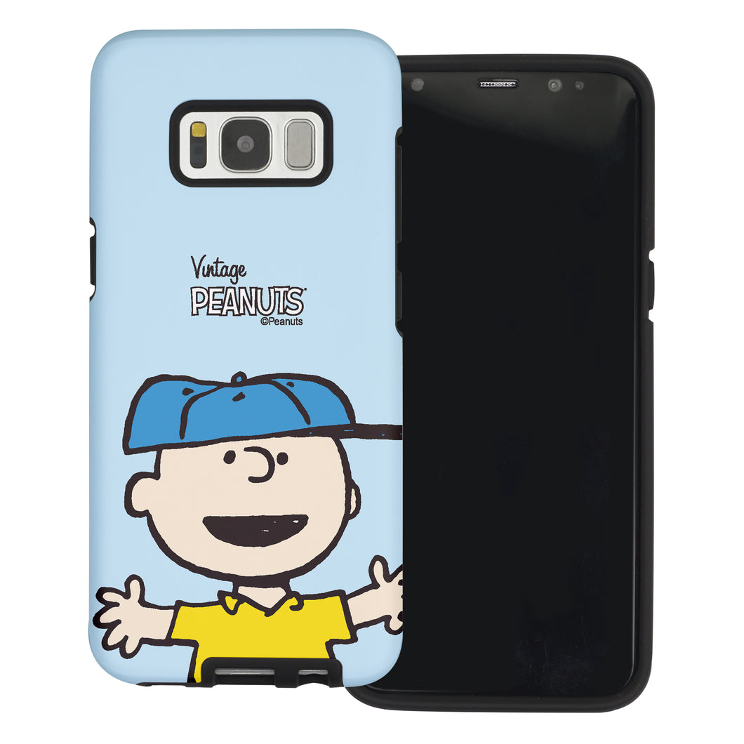 Galaxy S8 Case (5.8inch) PEANUTS Layered Hybrid [TPU + PC] Bumper Cover - Face Charlie Brown