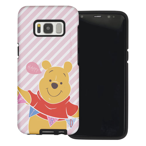 Galaxy S8 Case (5.8inch) Disney Pooh Layered Hybrid [TPU + PC] Bumper Cover - Stripe Pooh Happy