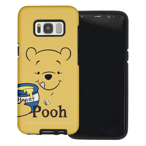 Galaxy S7 Edge Case Disney Pooh Layered Hybrid [TPU + PC] Bumper Cover - Face Line Pooh