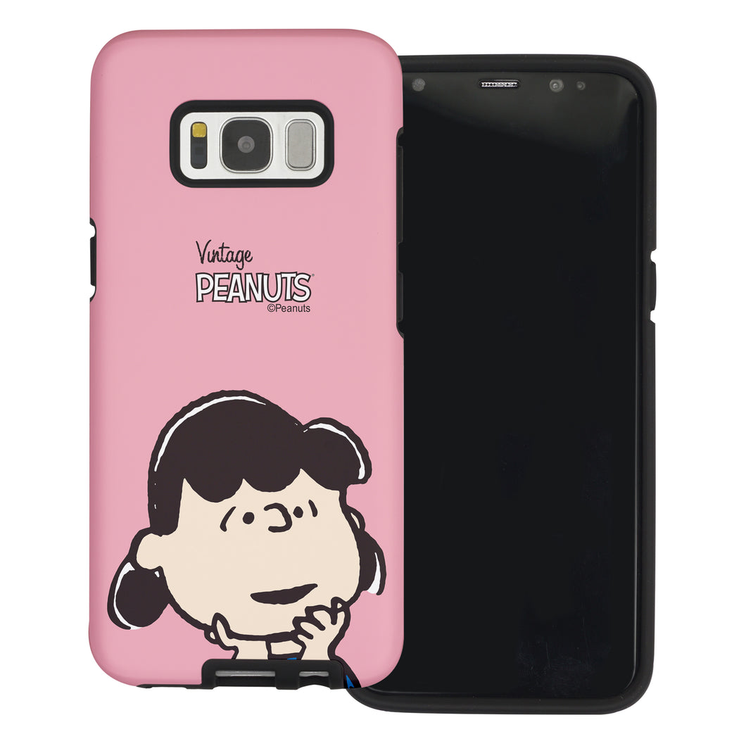 Galaxy S7 Edge Case PEANUTS Layered Hybrid [TPU + PC] Bumper Cover - Face Lucy