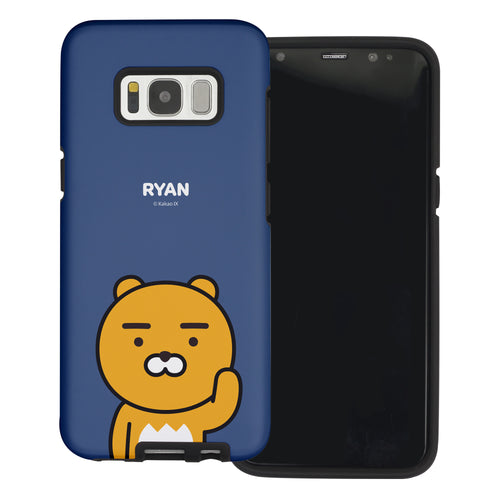 Galaxy S7 Edge Case Kakao Friends Layered Hybrid [TPU + PC] Bumper Cover - Greeting Ryan