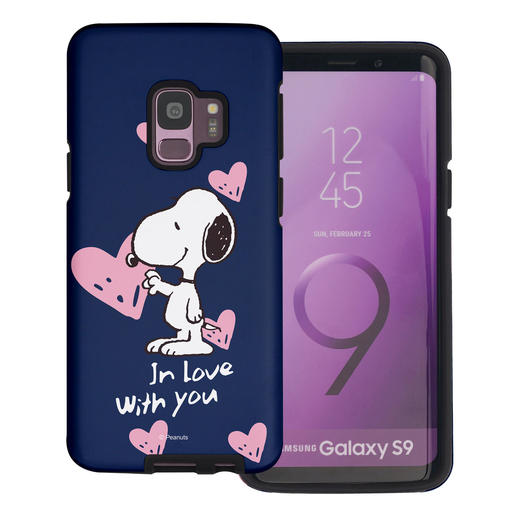 Galaxy S9 Plus Case PEANUTS Layered Hybrid [TPU + PC] Bumper Cover - Snoopy In Love Navy