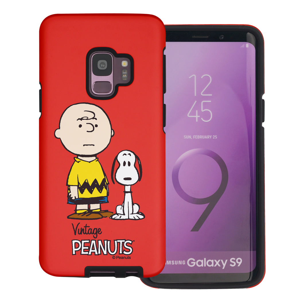 Galaxy S9 Plus Case PEANUTS Layered Hybrid [TPU + PC] Bumper Cover - Cute Snoopy Charlie Brown