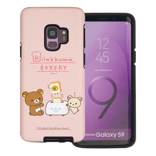 Galaxy S9 Plus Case Rilakkuma Layered Hybrid [TPU + PC] Bumper Cover - Rilakkuma Toast