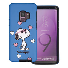 Load image into Gallery viewer, Galaxy S9 Plus Case PEANUTS Layered Hybrid [TPU + PC] Bumper Cover - Snoopy Heart Glasses Blue