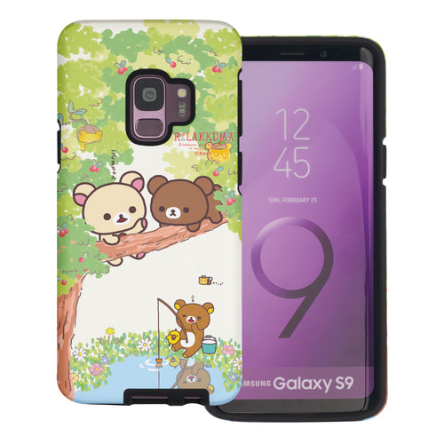 Galaxy S9 Case (5.8inch) Rilakkuma Layered Hybrid [TPU + PC] Bumper Cover - Rilakkuma Forest
