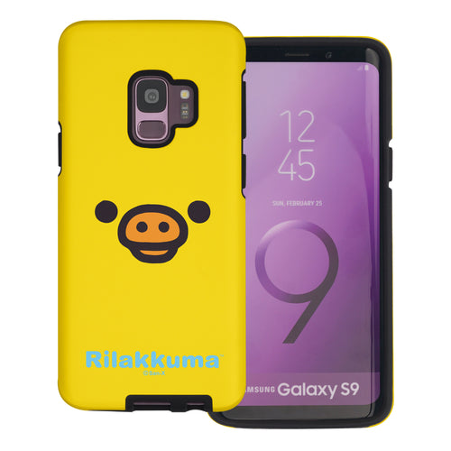 Galaxy S9 Case (5.8inch) Rilakkuma Layered Hybrid [TPU + PC] Bumper Cover - Face Kiiroitori