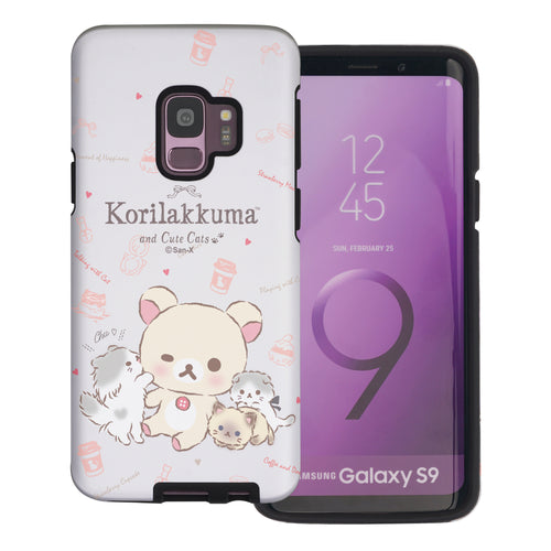 Galaxy S9 Case (5.8inch) Rilakkuma Layered Hybrid [TPU + PC] Bumper Cover - Korilakkuma Cat