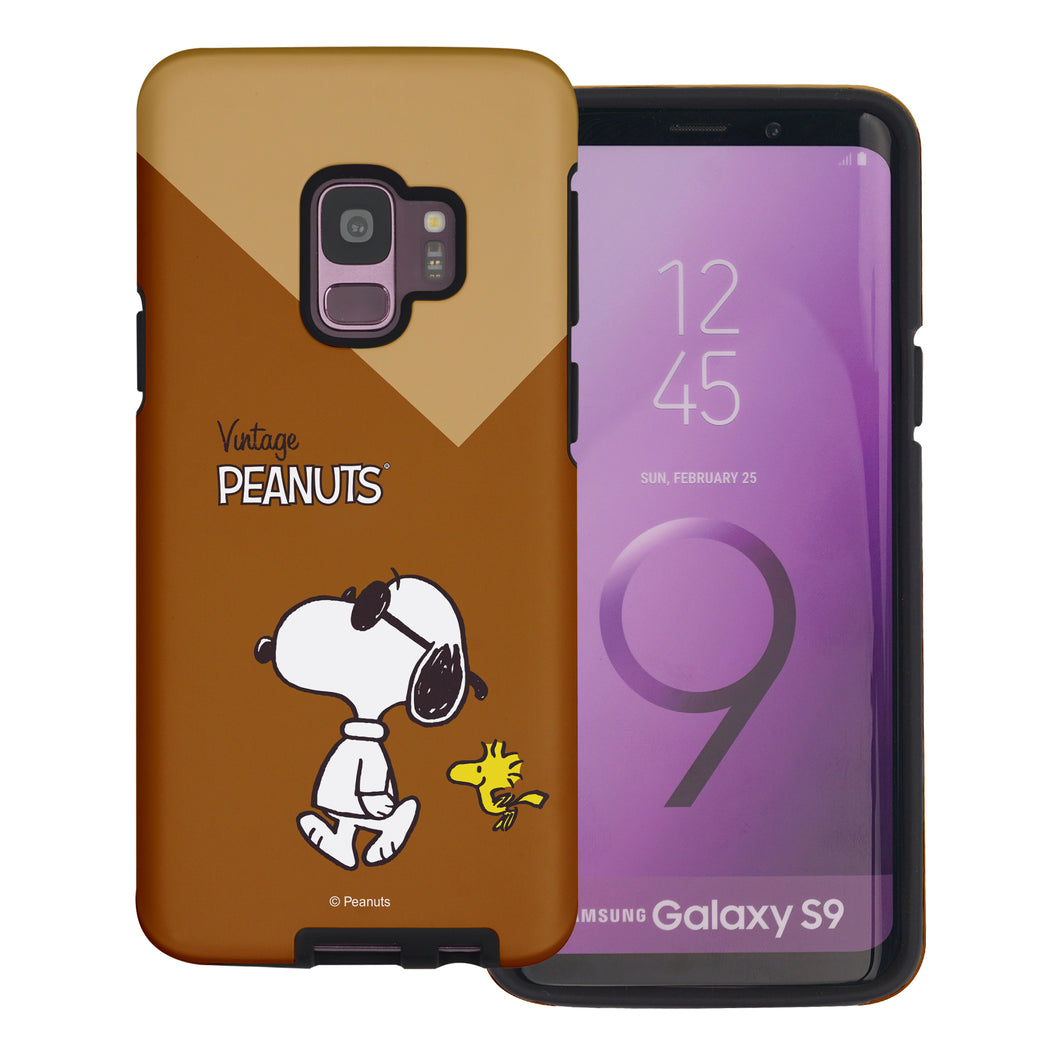 Galaxy S9 Plus Case PEANUTS Layered Hybrid [TPU + PC] Bumper Cover - Vivid Snoopy Woodstock