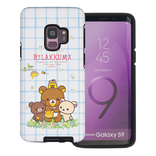 Galaxy S9 Plus Case Rilakkuma Layered Hybrid [TPU + PC] Bumper Cover - Rilakkuma Honey