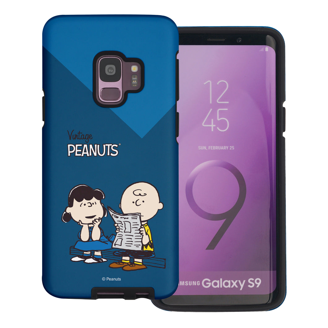 Galaxy S9 Case (5.8inch) PEANUTS Layered Hybrid [TPU + PC] Bumper Cover - Vivid Charlie Brown Lucy