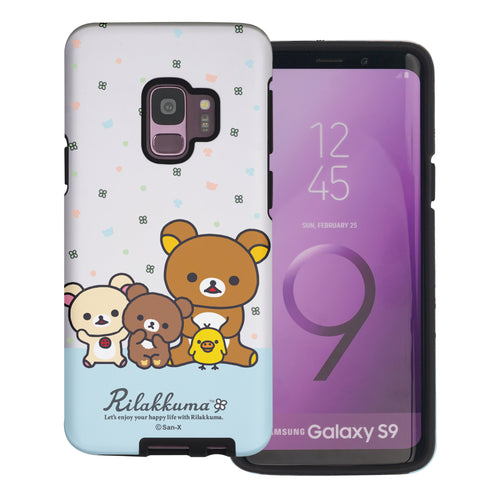 Galaxy S9 Plus Case Rilakkuma Layered Hybrid [TPU + PC] Bumper Cover - Rilakkuma Friends