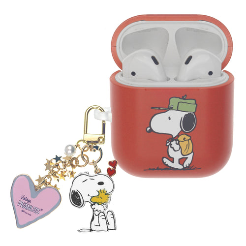 Peanuts AirPods Case Snoopy Key Ring Keychain Key Holder Hard PC Shell Strap Hole Cover - Camp Snoopy Bag