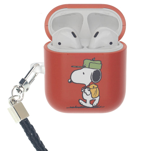 Peanuts AirPods Case Neck Lanyard Hard PC Shell Strap Hole Cover - Camp Snoopy Bag