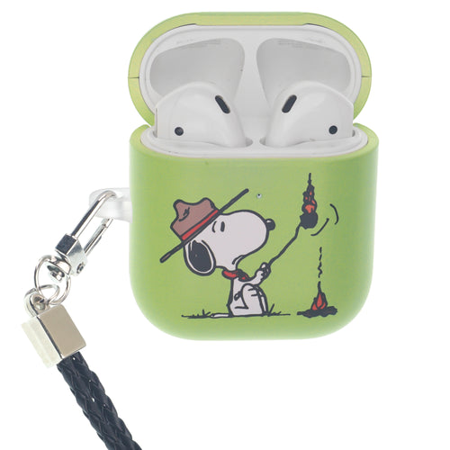 Peanuts AirPods Case Neck Lanyard Hard PC Shell Strap Hole Cover - Camp Snoopy Burn
