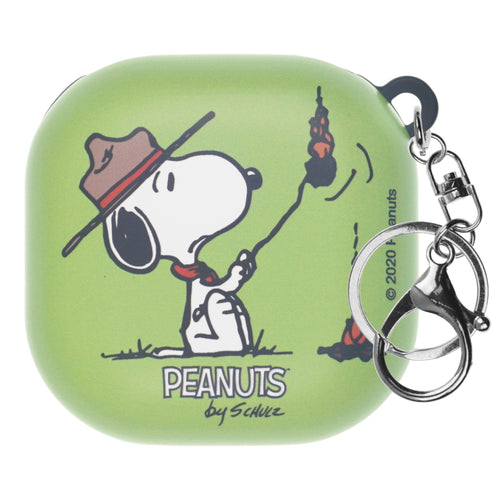 Peanuts Galaxy Buds Live Case (2020) Key Ring Keychain Key Holder Hard PC Shell Cover - Camp Snoopy Burn