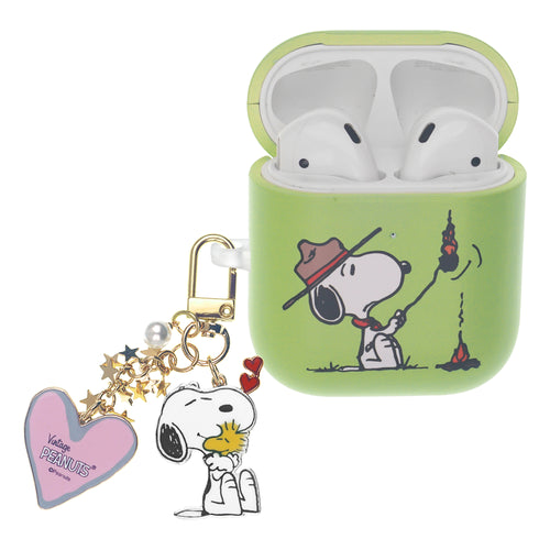 Peanuts AirPods Case Snoopy Key Ring Keychain Key Holder Hard PC Shell Strap Hole Cover - Camp Snoopy Burn