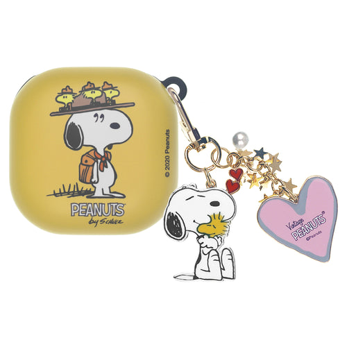Peanuts Galaxy Buds Live Case (2020) Snoopy Key Ring Keychain Key Holder Hard PC Shell Cover - Camp Snoopy Hat