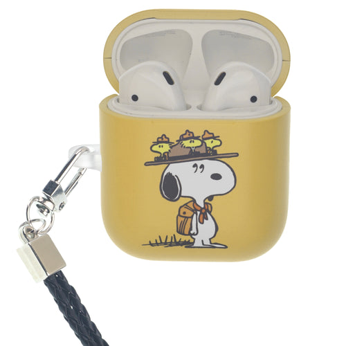 Peanuts AirPods Case Neck Lanyard Hard PC Shell Strap Hole Cover - Camp Snoopy Hat