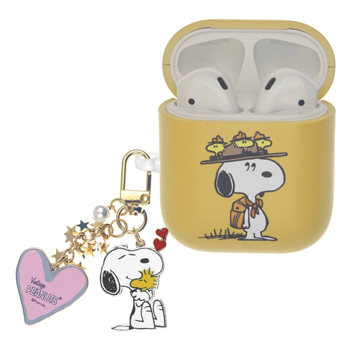 Peanuts AirPods Case Snoopy Key Ring Keychain Key Holder Hard PC Shell Strap Hole Cover - Camp Snoopy Hat