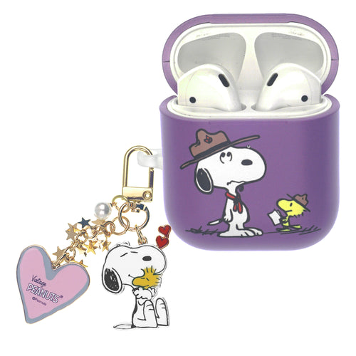 Peanuts AirPods Case Snoopy Key Ring Keychain Key Holder Hard PC Shell Strap Hole Cover - Camp Snoopy Instructor