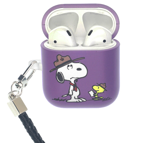 Peanuts AirPods Case Neck Lanyard Hard PC Shell Strap Hole Cover - Camp Snoopy Instructor
