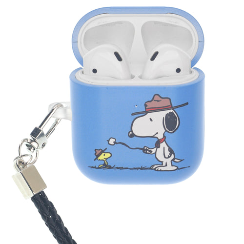 Peanuts AirPods Case Neck Lanyard Hard PC Shell Strap Hole Cover - Camp Snoopy Marshmallow